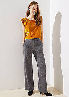LOFT Wide Leg Pants in Herringbone