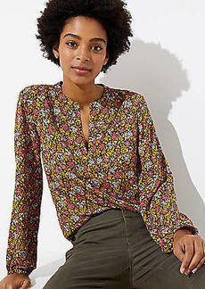 LOFT Wildflower Split Neck Blouse