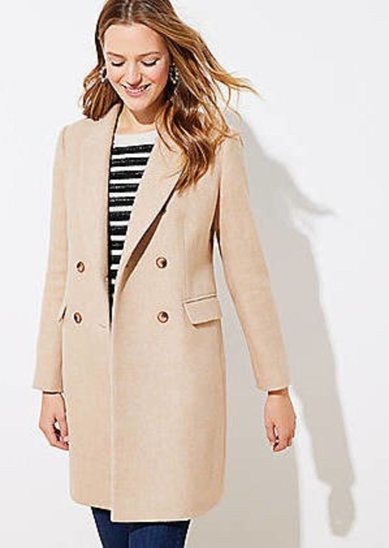 LOFT Wool Twill Double Breasted Coat