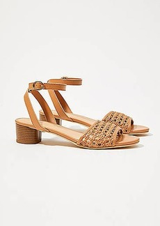 LOFT Woven Leather Ankle Strap Block Heels