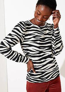 LOFT Zebra Print Puff Sleeve Sweatshirt