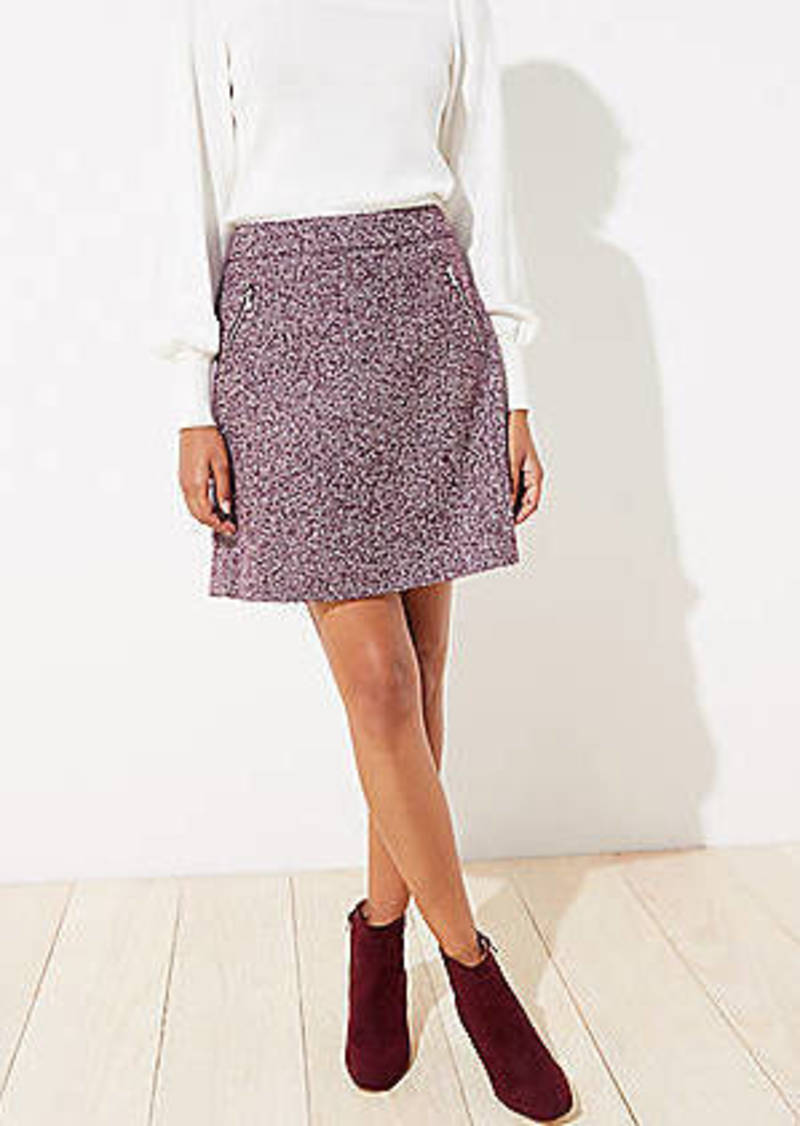 LOFT Zip Pocket Tweed Shift Skirt