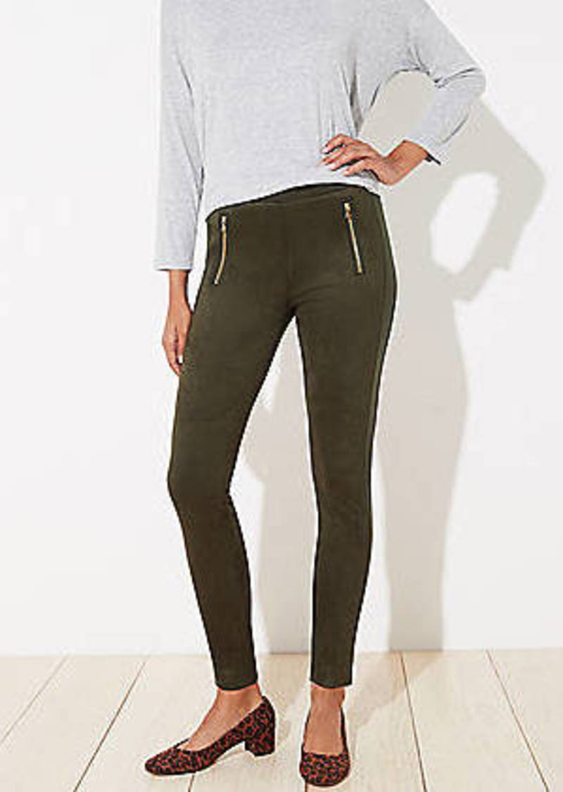 LOFT Zip Trim Faux Suede Leggings