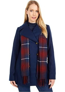 London Fog Double Breasted Short Wool Coat w/ Scarf