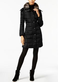 London Fog Faux-Fur-Collar Down Puffer Coat