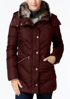 London Fog Faux-Fur-Collar Puffer Coat