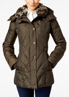 London Fog Faux-Fur-Collar Quilted Down Coat