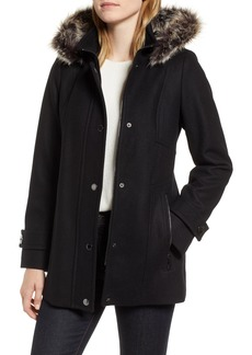 London Fog Faux Fur Hooded Wool Car Coat
