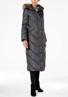 London Fog Faux-Fur-Trim Down Maxi Coat