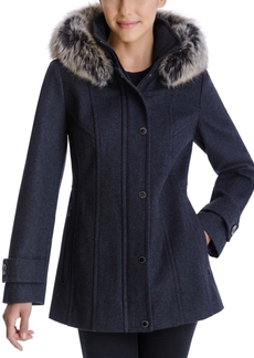 London Fog Faux-Fur-Trim Hooded Coat