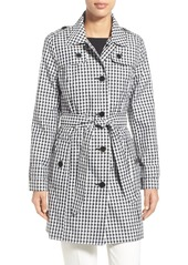 London Fog Gingham Print Single Breasted Trench Coat (Regular & Petite)
