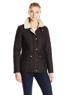 London Fog Heritage Women's Quilted Jacket With Faux Sherpa Lining