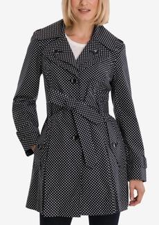 London Fog Polka-Dot Hooded Belted Trench Coat