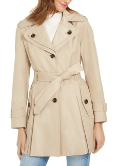 London Fog Hooded Belted Water-Resistant Trench Coat