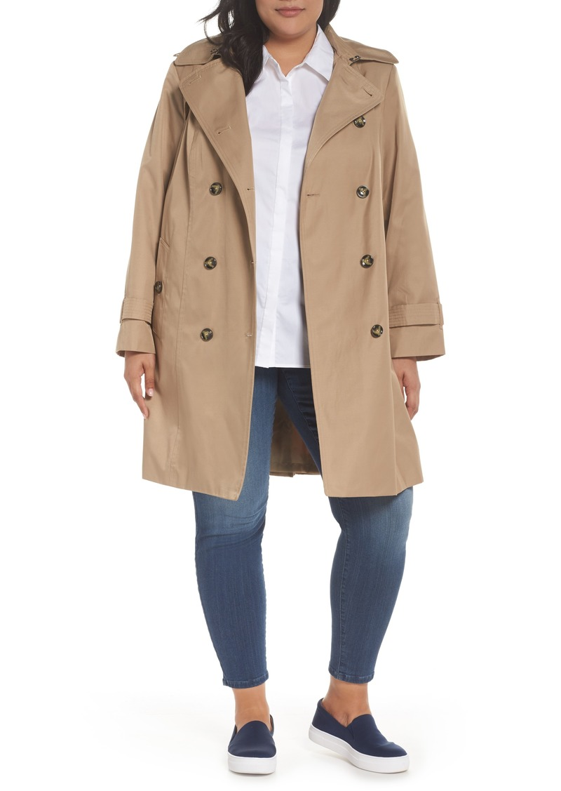 2f8c343a6858e London Fog London Fog Hooded Double Breasted Trench Coat (Plus Size ...