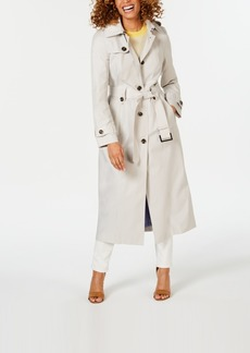 London Fog Petite Hooded Single-Breasted Trench Coat