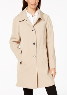 London Fog Hooded Snap-Front Raincoat