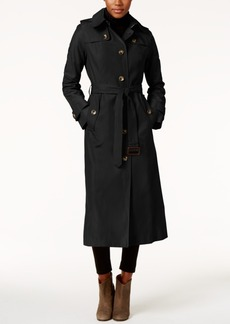 London Fog Hooded Water-Resistant Maxi Trench Coat
