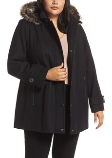 London Fog Hooded Wool Blend Coat with Faux Fur Trim (Plus Size)