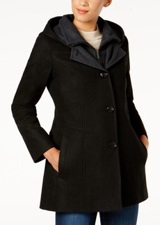 London Fog Hooded Wool-Blend Peacoat