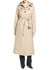 London Fog Long Trench Raincoat with Removable Hood