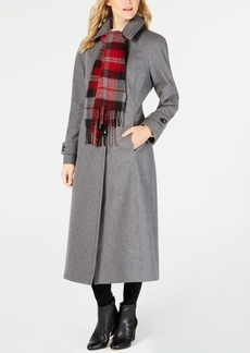 London Fog Maxi Wool-Blend Coat with Scarf
