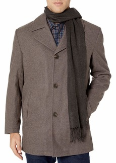 "LONDON FOG Men's Amity 34"" Wool Blend Car Coat with Scarf  XX Large"