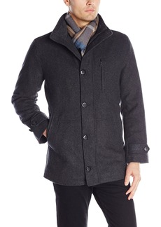 London Fog Men's Antone Wool Fitted Car Coat With Scarf