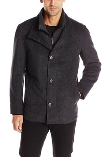 London Fog Men's Ashland Wool Coat With Inner Bib