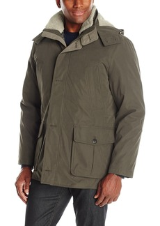 London Fog Men's Bonded Microfiber Parka with Detachable Sherpa Lined Hood  L