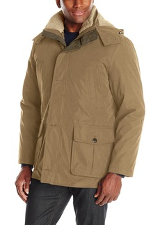 London Fog Men's Bonded Microfiber Parka With Detachable Sherpa Lined Hood  S