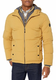 LONDON FOG Men's Chazy Hooded Bibby Jacket with Polyfill Insulation