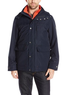 London Fog Men's Cotton Poly Cropped 3 in 1 Parka  L