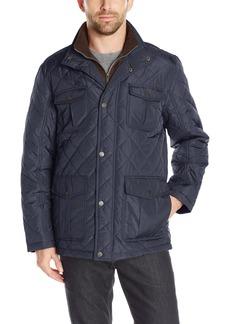 London Fog Men's Dewspo Quilt Field Coat With Bib  S