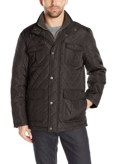 London Fog Men's Dewspo Quilt Field Coat with Bib  S