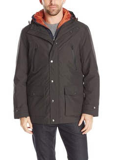 London Fog Men's Microfiber PVC Hooded 3 in 1 Anorak  L