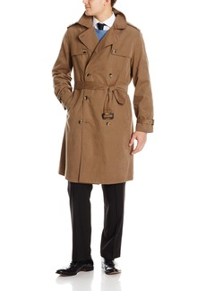 LONDON FOG Men's Plymouth Double Breasted Belted Micro Twill Light Lined Trench Coat  L