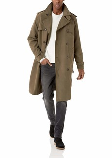 LONDON FOG Men's Plymouth Double Breasted Belted Micro Twill Light Lined Trench Coat