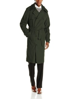 LONDON FOG Men's Plymouth Double Breasted Belted Micro Twill Light Lined Trench Coat  S