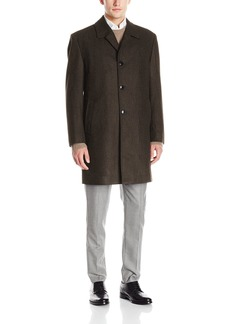 London Fog Men's Signature Wool Blend Top Coat Brown/Black Heather Black R