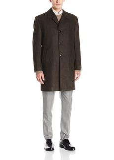 London Fog Men's Signature Wool Blend Top Coat Brown/Black Heather Black R