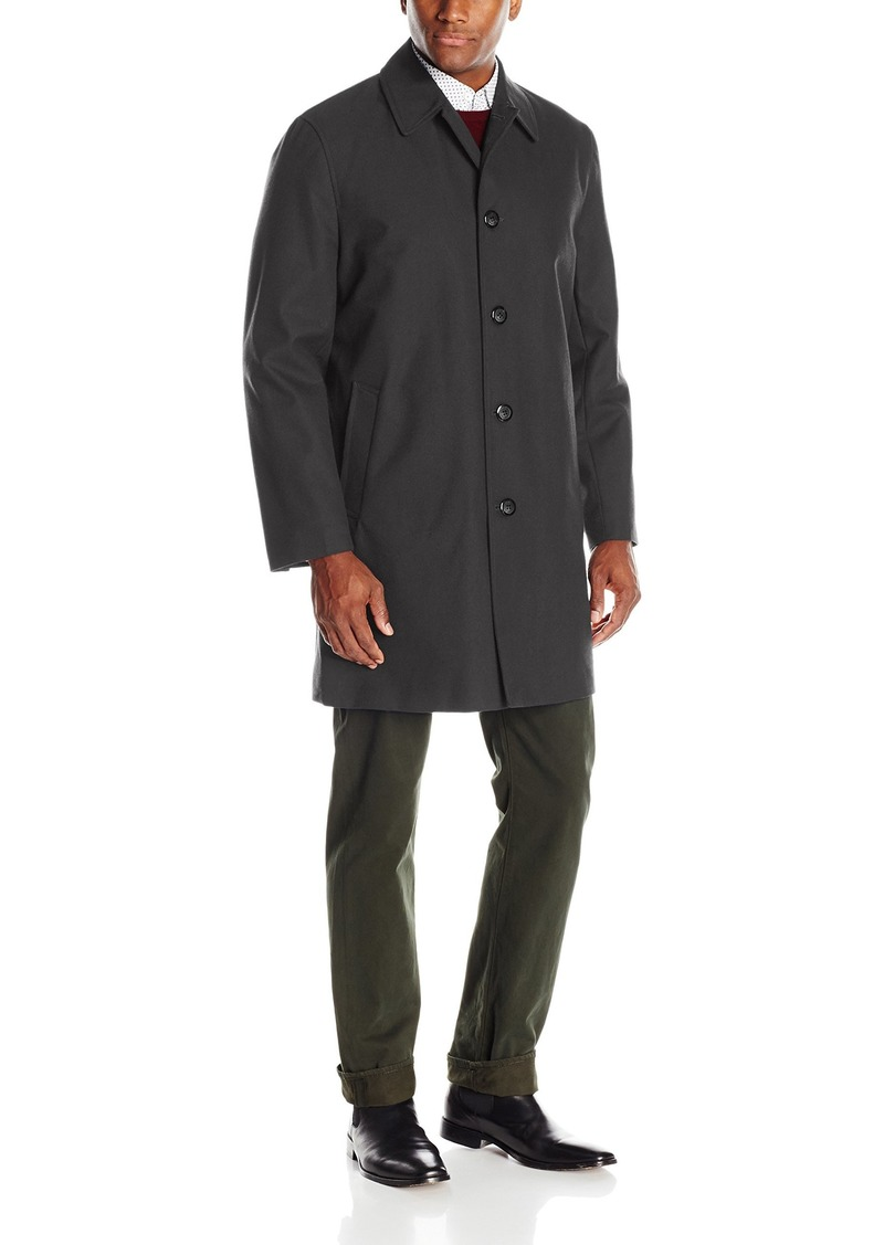 London Fog Men's Waterproof Breathable Wool Lined Balmaccan Top Coat