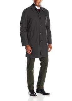 London Fog Men's Waterproof Breathable Wool Lined Balmaccan Top Coat Black Twill Regular