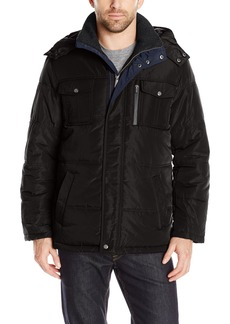 London Fog Men's Wide Tubular Quilt Parka with Detachable Hood  M