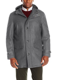 London Fog Men's Wool Blend Bench Warmer Coat with Attached Hood  L