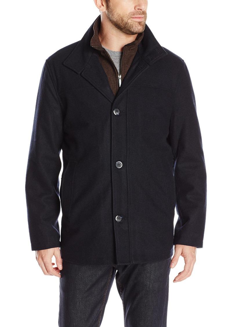 London Fog Men's Wool Blend Car Coat with Bib Navy HEA/Brown XL