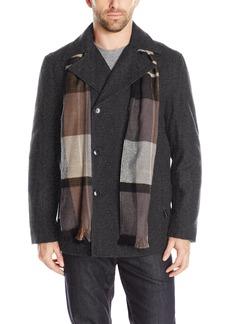London Fog Men's Wool Blend Double Breasted Pea Coat  M