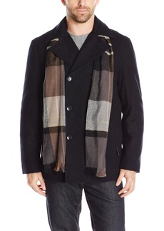 London Fog Men's Wool Blend Double Breasted Pea Coat  S