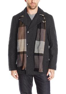 London Fog Men's Wool Blend Double Breasted Pea Coat  S