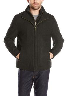 London Fog Men's Wool Blend Stand Collar Jacket with Bib  L